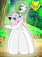 Gardevoir Is Holding Jigglypuff (coloured) by Imaflashdemon