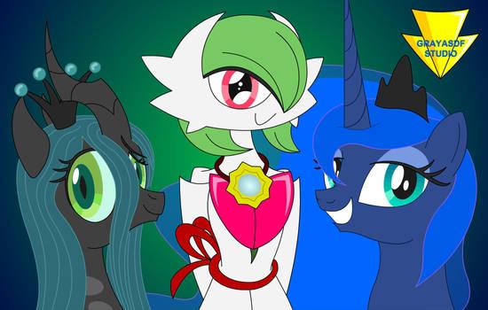 Chrysalis, Mega Gardevoir, Luna... together! by Imaflashdemon