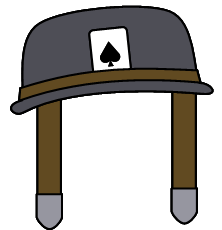 The helmet with an Ace of Spades card by Belinda-Emily-Back