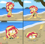 Sunset Shimmer Sets in the Sand by Hefess