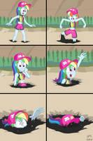 Rainbow Dash Blubbin' on the Beach by Hefess