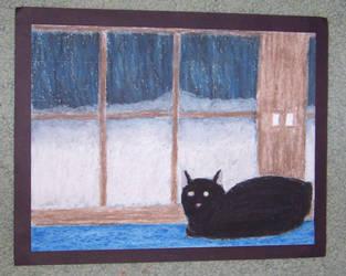 Old Art - Cat in window by TigressofIndia
