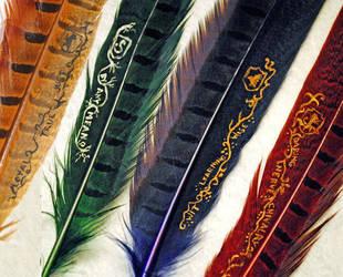 Hogwarts House Quills by Autumn-Fyre