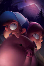 Dipper, Mabel, and Waddles by JakeKalbhenn
