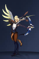 Hanzo and Mercy crossover! by Lapuka