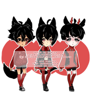 CLOSED - Black and Red adopts by yajamiya