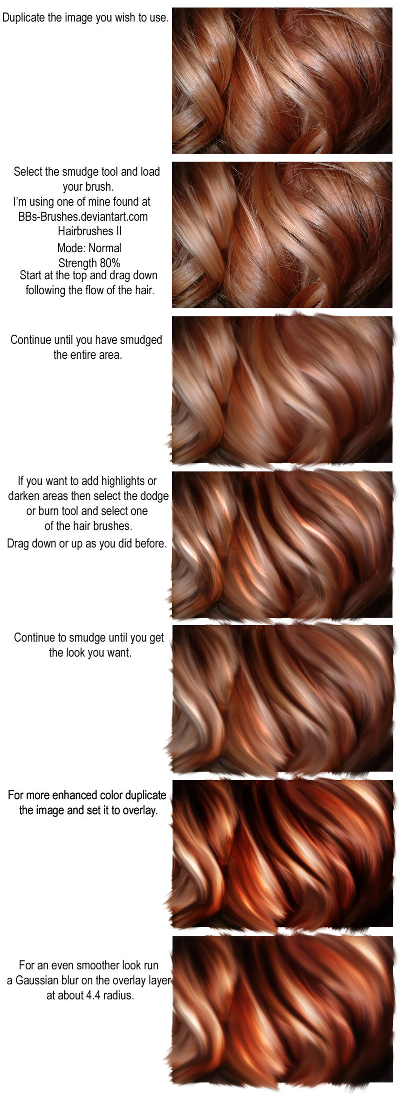 Smudged Hair Tutorial by BBs-Brushes