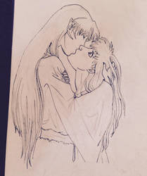 Surprise kiss, sesshomaru and kagome by AuroraNin