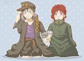 JJBA - Smol Jotaro and Kakyoin by 7Repose