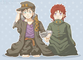 JJBA - Smol Jotaro and Kakyoin by 7Repose