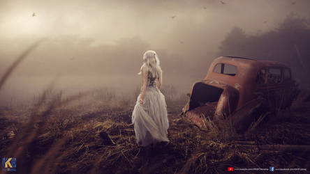 Old Car and Girl by rajrkb