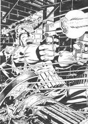 My Inks over Mike Zeck's classic Punisher by Madhouse-Workshop