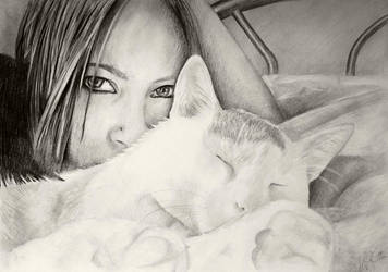 white cat - sleeping by DelicatArt