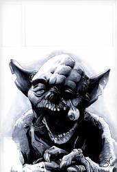 Zombie Yoda grayscale by gph-artist