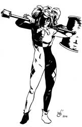 Harley Quinn b and w by gph-artist