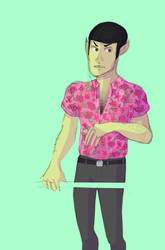 spock is wearing a hawaiian shirt by rachaelwrites