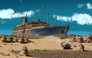 Desert Shipwreck by FredStesney