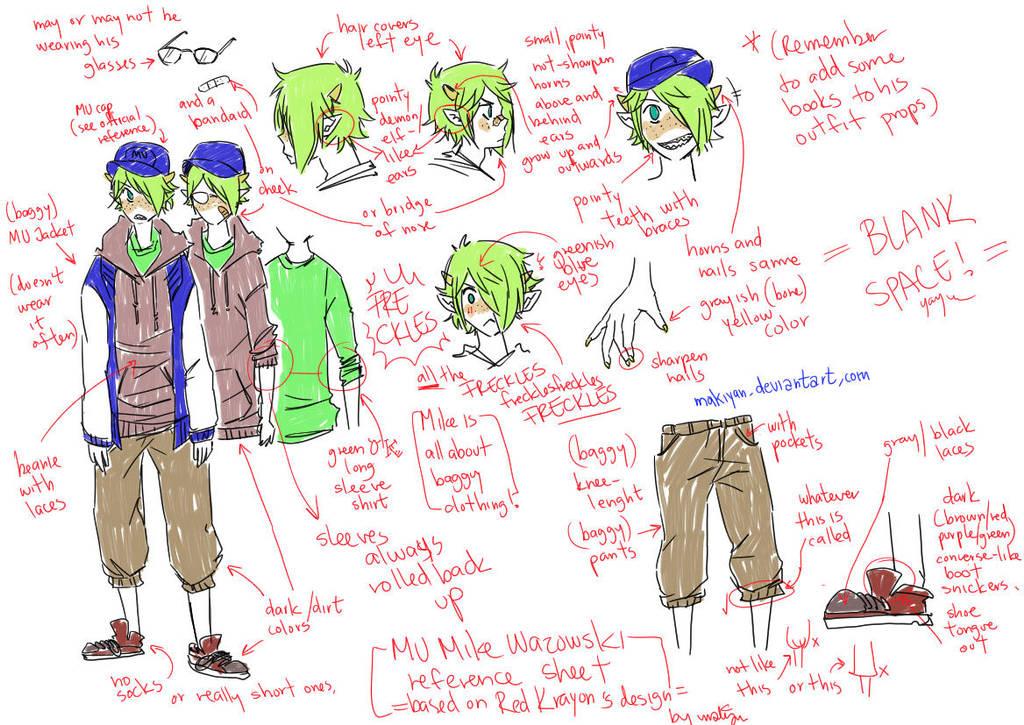 MU Human Mike Wazowski Reference Sheet By Makiyan On