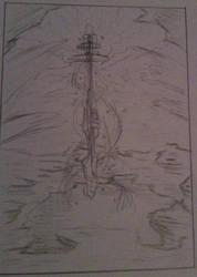 Fantasy Scene Concept Sketch by blackcatdnangel