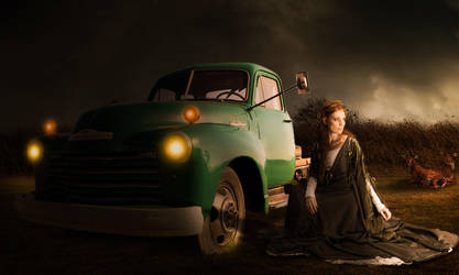 Dramatic Light Girl and Car by Roshan3312