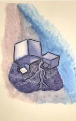 Watercolor test element rock by netgoo
