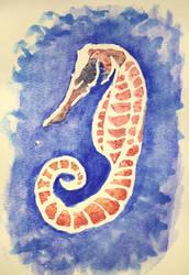 Watercolor seahorse by netgoo