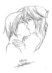 4th sketch - Kiss between boys by Morgana17