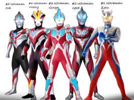 My top 5 favorite Ultramen  by Jacksondeans