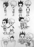Chibi Gon and Killua (gonkillu/killugon) by RavenDANIELS