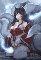Ahri in rain :3 by Windami