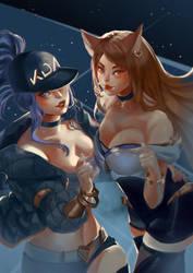 K/DA Akali and Ahri by Windami