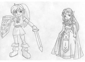 Link and Zelda sketch by reenas-as