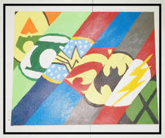 Justice League Acrylic Painting 16x20 Canvas Panel by wolf-girl87