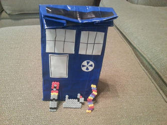 Duct Tape TARDIS lunch sack+Fourth Doctor charms by DragonsAndDreamscape