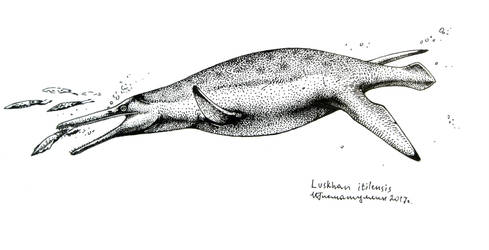 The gharial pliosaurid by Xiphactinus