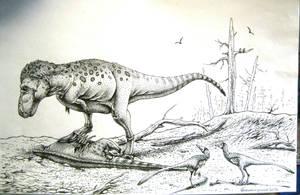 Tyrannosaurus rex and Pectinodon by Xiphactinus