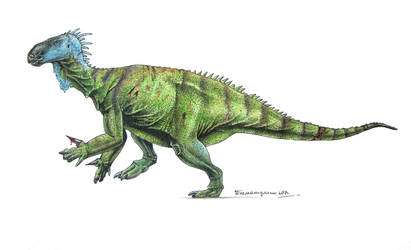 Iguanodon bernissartensis by Xiphactinus