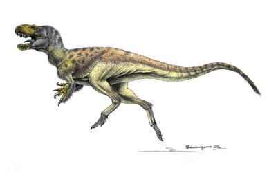 Dryptosaurus aquilunguis by Xiphactinus