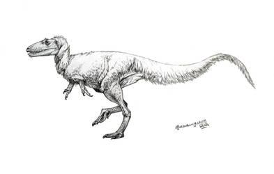 Alectrosaurus olseni by Xiphactinus