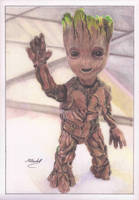 colour pencil Baby Groot by mchurchill1982