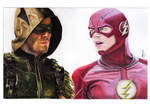 Arrow and Flash (colour pencil) {tv version} by mchurchill1982