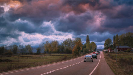 Road and Clouds by abaloo72