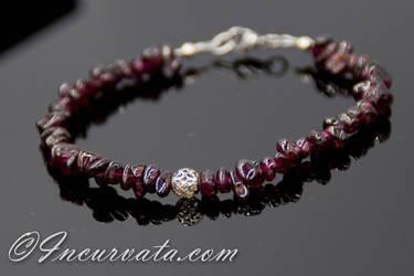 Garnet and Silver Filigree Bracelet by youvegotmaille