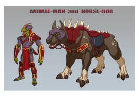 ANIMAL-MAN and HORSE-DOG by Jerome-K-Moore
