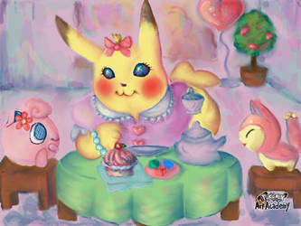 Tea Party Pika by SonicFanFromLyoko