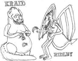 Kraid and Ridley: Break Time Sketch by jamesgannon