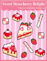 S. Strawberry Delight Sticker Designs by MidniteHearts
