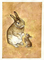 big bunny and small bunny by moussee