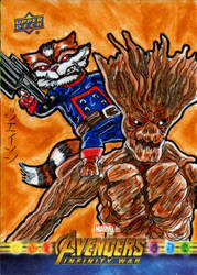 Rocket and Groot for Upper Deck/Marvel! by RazeComix