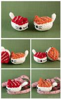 Maguro and Sake Nigiri Cats by pocket-sushi